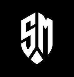 sm logo monogram with emblem shield style design vector image