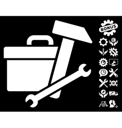 Toolbox Icon with Tools Bonus vector