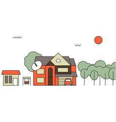 Traditional family homeflat design concept vector
