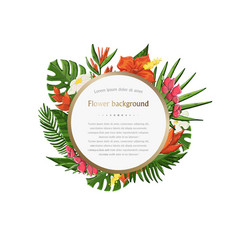 tropical plantleaves and flowers vector image