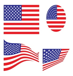 USA flag set resize vector image