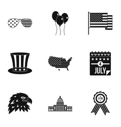 usa patriotic holiday icon set simple style vector image