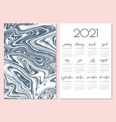 Watercolor calendar template 2021 year vector