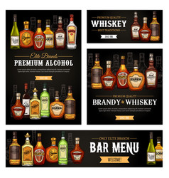 Whiskey rum and tequila alcohol drinks bar menu vector