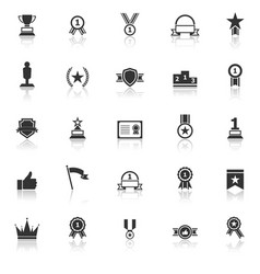 winner icons with reflect on white background vector image