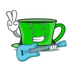 With guitar green tea mascot cartoon vector