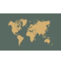 Yellow halftone political world map vector image