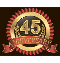 45 years anniversary golden label with ribbons vector image