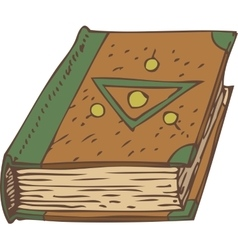 Closed Book with Green and Brown Cover vector image vector image