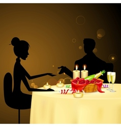 Couple taking Candle Light Dinner vector image vector image