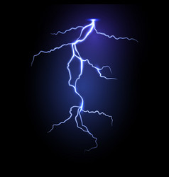 realistic lightning in dark night sky vector image