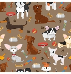 Cute funny dogs seamless pattern vector image vector image