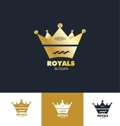 Royal king crown logo icon set vector image