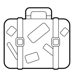 Travel suitcase with stickers icon outline style vector image
