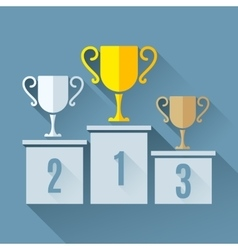 Trophy Cups on Podium vector image vector image