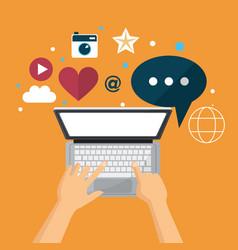 hand using laptop social media network vector image
