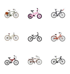realistic for girl journey bike retro and other vector image vector image