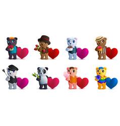 set bear and valentine heart shape symbol of love vector image