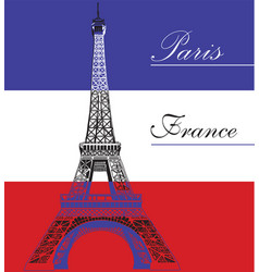 eiffel tower on french flag background vector image