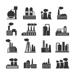 Industrial factory and plant buildings vector image