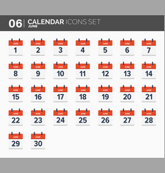 june calendar icons set date and time 2018 year vector image