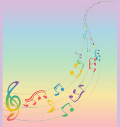 set of musical notes on a five-line clock colors vector image