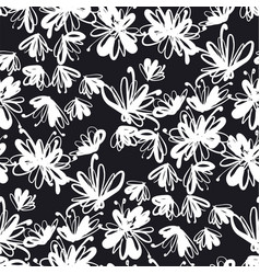 Abstract laconic black and white floral pattern vector