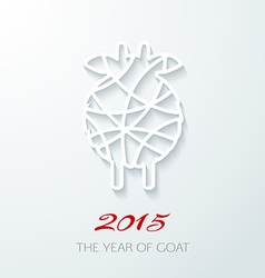 Applique card with white goat symbol of 2015 vector