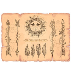 Arrows sun and feathers a set of cards in the vector
