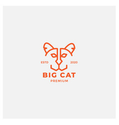 Big cat outline minimalist cute head face logo vector