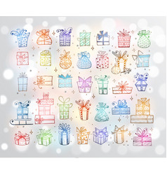 big set colored doodle christmas gift boxes on vector image