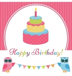 Birthday card with cake and two owls vector