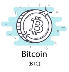 Bitcoin outline coin vector