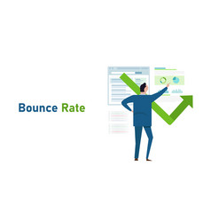 Bounce rate number visitor leave exit from vector