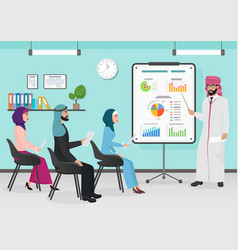 business arab muslim people having board vector image