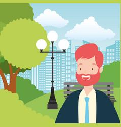 businessman park city street vector image
