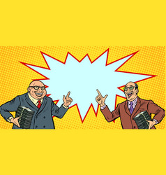 Businessmen with cash rich people two men joyful vector