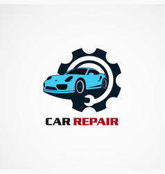 car repair service with circle gear logo icon vector image