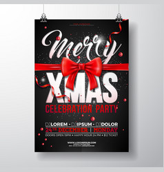 christmas party flyer with red bow vector image
