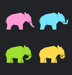 Colored elephants in different poses vector