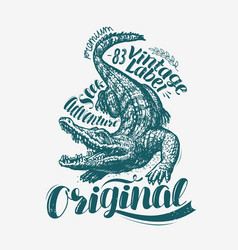 Crocodile t-shirt design alligator drawn vintage vector