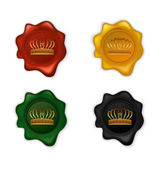 crown wax seal set vector image
