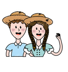 Cute brazilian couple with hat and typical clothes vector