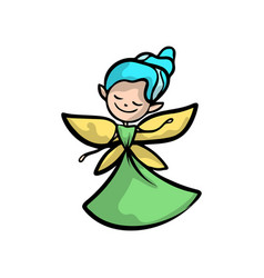Cute fairy with gold wings blue hair and green vector