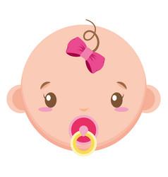Cute little bagirl head character vector