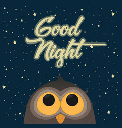 cute owl good night concept vector image