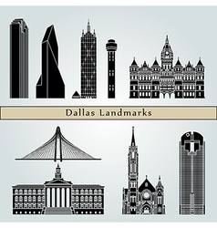 dallas landmarks and monuments vector image