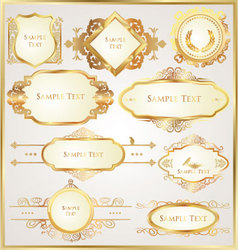 decorative golden ornate elements vector image