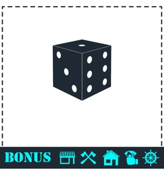 Dice icon flat vector