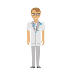 doctor man glasses coat and stethoscope vector image